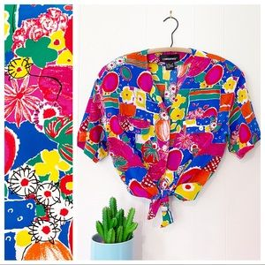 VTG 80s Counterparts Abstract Fruit Floral Blouse